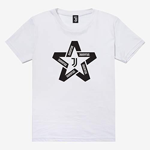Juventus Maglietta T-Shirt Bianca con Logo Nero a Forma di Stella - Bambino - 100% Originale - 100% Prodotto Ufficiale - Collezione 2020/2021 - Scegli la Taglia (Taglia 12 Anni)