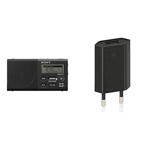 Sony XDR-P1DBP Taschenradio (DAB/DAB+, 20h Akku) & Wicked Chili Pro Series Netzteil - Ultra Slim - Universal USB Adapter (1000 mA, 100-240V) schwarz