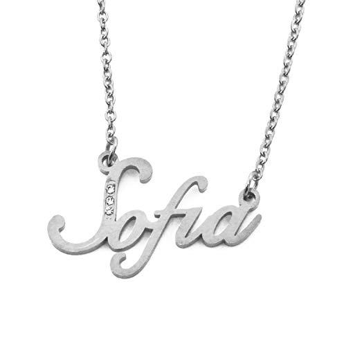 Collana Con Nome Personalizzato SOFIA - Tono Argento - Corsivo Con Cristalli Inclusi