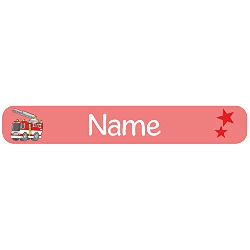 Mein Zwergenland 60 Namensetiketten mit Motiv und Name, Farbe rot, Motiv Feuerwehr