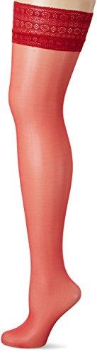 Fiore Damen VOLTA/OBSESSION Halterlose Strümpfe, 20 DEN, Rot (Red 024), Large (Herstellergröße:4)