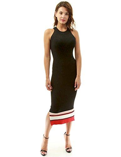 PattyBoutik Damen Farbe Block Halfter gerippt Strickkleid (schwarz, weiß und rot 34/XS)