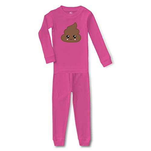 Emoji Poop Cotton Crewneck Boys-Girls Infant Long Sleeve Sleepwear Pajama 2 Pcs Set Top and Pant - Hot Pink, 3T