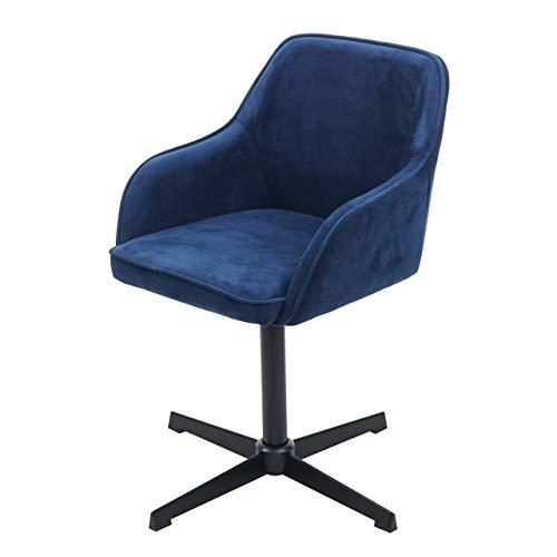 Preisvergleich Produktbild Mendler Esszimmerstuhl HWC-F82,  Küchenstuhl Lehnstuhl,  höhenverstellbar Drehmechanismus ~ Samt blau,  Fuß schwarz