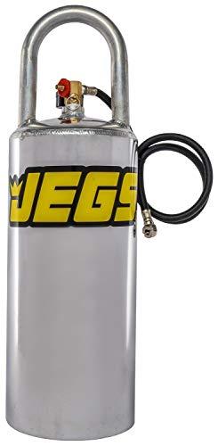 "JEGS Portable Aluminum Air Tank | 3 Gallon Capacity | Vertical Design | Overall Height 24"" | Maximum 125 PSI | Includes Gauge, 36"" Hose, and Pressure Relief Valve"