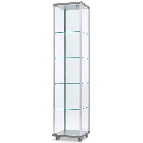 MHN schmale verschließbare Glasvitrine mit LED-Beleuchtung 40 x 40 cm mit Glasrückwand/auf Standfüßen