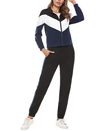 Irevial Chandal Mujer Completo Algodon,Suave chándal Deportivo Mujer Conjunto,cómodos Sudadera con Cremallera y Pantalones 2 Pieza,Azul,L