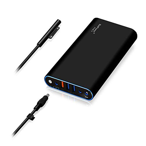 BatPower ProE 2 Cargador portátil Batería Externa Power Bank para Surface Book 2 Book Laptop Go y Surface Pro X 7 6 5 4 3 2 RT, Carga rápida USB QC 3.0 para Tableta o teléfono Inteligente -98Wh