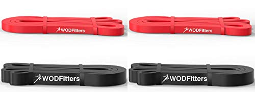 WODFitters Resistance Band Bundle - 2 Red and 2 Black Pull Up Assistance Bands
