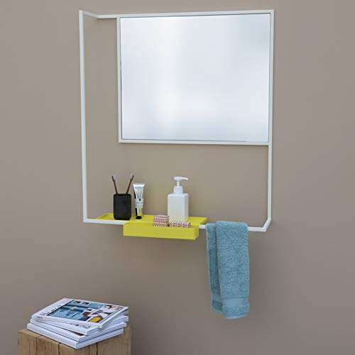 Miroir Design Presse-Citron Le Miroir ROMI Blanc Presse-Citron, 78.5x60.4x18 cm Couleur Blanc/Miroir Argent en Acier laqué, Miroir Désigné par Presse-citron