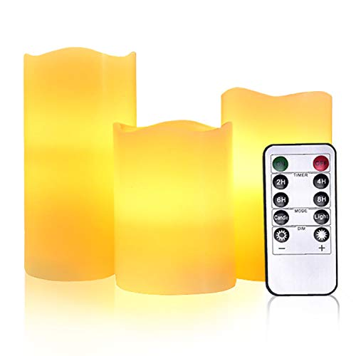 Battery Operated Candle Remote Control Flameless LED Electric Set of 3 Ivory Real Wax Pillar Flicker Votive Candle with Timer Home Outdoor Realistic Bright Fake Luminare Powered Cylinder Candle Light