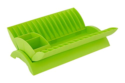 Premier Housewares - Escurreplatos con cesto para cubertería extraíble, Color Verde