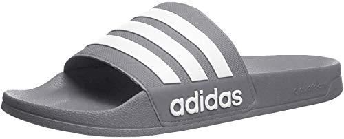 adidas, ciabatte Adilette, sportivi, per la doccia, da uomo, Grigio (Grey/White/Grey), 36.5 EU