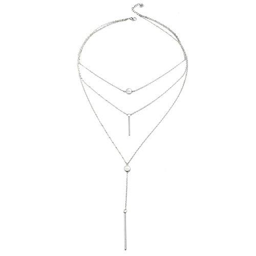 Yodensity - Collana multi-filo da donna, elegante, con ciondolo, idea regalo, gioiello e Acciaio inossidabile, colore: argento, cod. WSD170988YYMM-02