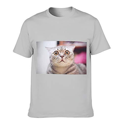 Camiseta de algodón para hombre, diseño de cara de gato, ultrasuave, cuello redondo, parte superior de competición Gris plateado. XXXXXXL