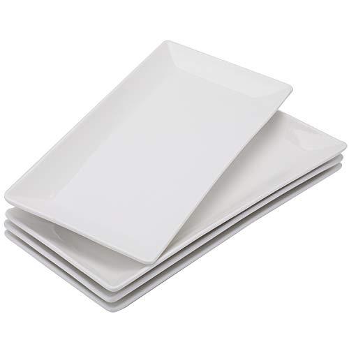 Foraineam 4 Pack Porcelain Serving Platters 10-1/4 x 5 inch Rectangular Serving Trays, Dessert, Appetizer, Salad Side Plates