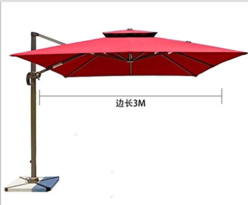 WENYAO Sombrilla de jardín Sombrilla Terraza de jardín con luz LED Protección Ultravioleta Sombrilla Exterior giratoria sin incluir la Base para sombrillas de Playa al Aire Libre, sombrilla colgant