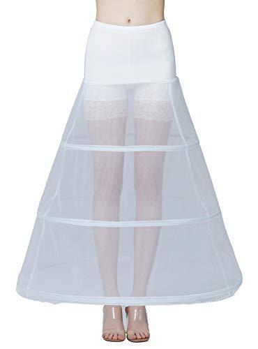 BEAUTELICATE Petticoat Unterröcke Reifrock Damen Rockabilly A Linie Lang für Hochzeit Brautkleid Abendlieid Schwarz Weiß (Weiß - 3...