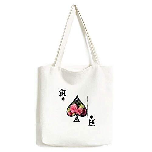 Roze Wit Bloemen Mooie Bank Handtas Craft Poker Spade Wasbare Tas