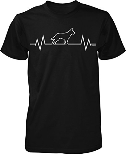 German Shepherd Heartbeat, I Love Dogs Men's T-shirt, NOFO Clothing Co. XL Black