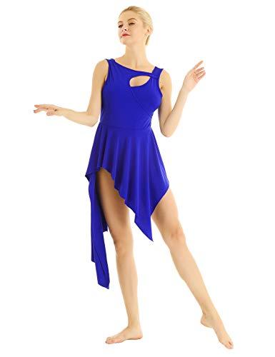 inhzoy Asimétrico Vestido de Danza Lírica para Mujer Vestido de Latino Tango Samba Rumba Falda Irregular Ballet Disfraz de Bailarina Dancewear Azul S