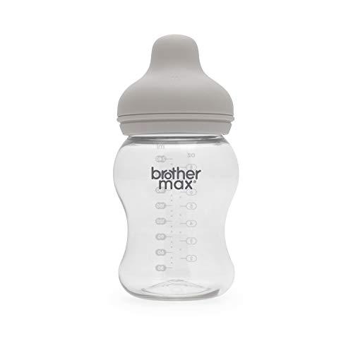 Brother Max Botella de alimentación extra ancha de cuello 240 ml 3-6 meses gris