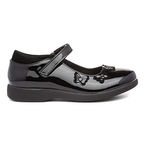 Walkright Girls Patent Easy Fasten Shoe in Black - Size 12 Child UK - Black
