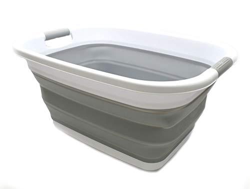 SAMMART Cesta plegable de plástico para la colada – Contenedor de almacenamiento plegable plegable – Bañera portátil – Cesta de ahorro de espacio (1, gris)