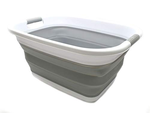 SAMMART Wäschekorb/Wanne – Faltbare Aufbewahrungsbox/Organizer – tragbarer Wäschekorb – platzsparender Wäschekorb – Auto Kofferraum Aufbewahrungsbox (Grau)