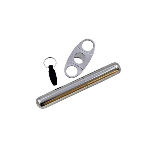 [ワズチヨ] 葉巻 しがー はまき シガー チューブ カッター パンチカッタ− セット 葉巻ケース 携帯 保管 ステンレス