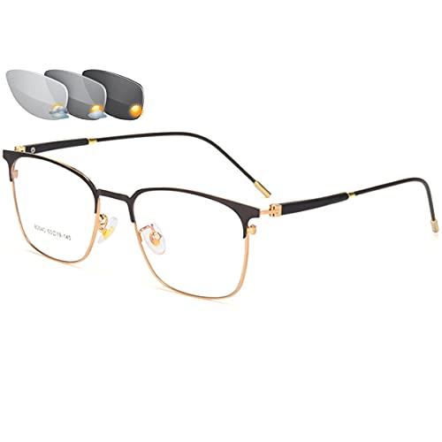 Gafas de Lectura Unisex Lector de Sol fotocromático Gafas de Bloqueo de luz Azul multifocales progresivas Dioptrías +1.0 a +3.0,Oro,+2.00