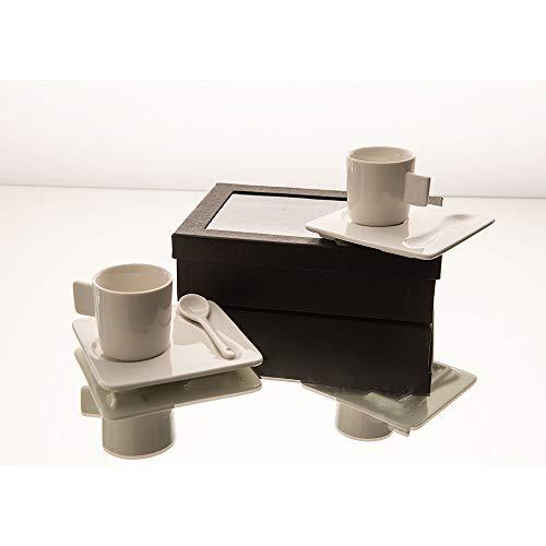Amadeus - Coffret 2 tasses 90 ml porcelaine avec sous tasses et cuillères