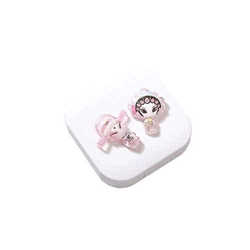 GLLP Estilo Chino Lente de Contacto Ins Lente de Contacto Simple Paquete de la Caja Portable Linda Chica Compacto Socio Mini (Color : White 2)