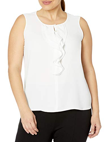 Kasper Women's Plus Size Sleeveless Ruffled Button Front Crepe Blouse, Lily, 1X