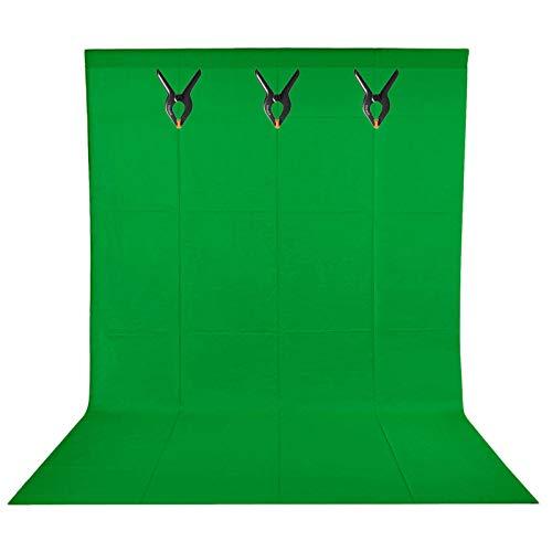 BDDFOTO 1,5 x 2m Greenscreen Photo Studio Hintergrund 100% Reiner Baumwolle Muslin Faltbare Hintergrund Leinwand mit 3 Leimzwinge für Fotografie, Video und Fernsehen