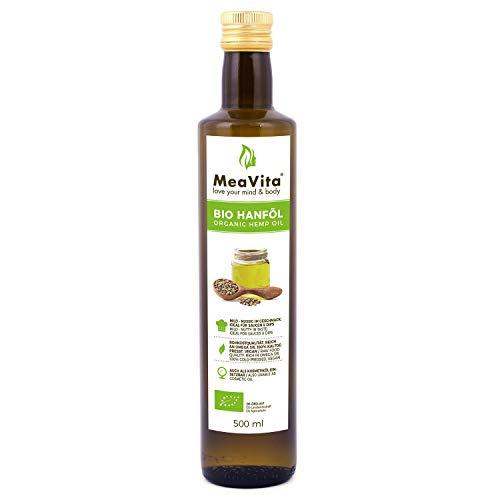 MeaVita Bio Hanföl, 100{f995d124c7a59dc213d0e8af317de6f1d65372a0d266f2e99286099e819f6668} rein & kaltgepresst, (1x 500ml) Hanfsamenöl hoher Anteil an Omega 3 & 6 Fettsäuren