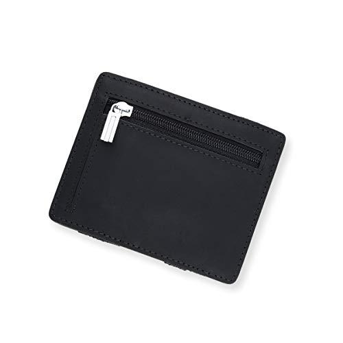 URBANHELDEN - Magic Wallet - Magischer Geldbeutel mit RFID Schutz und Münzfach - Portemonnaie aus echtem Büffelleder - Kreditkartenhalter Ausweisetui - Portmonee Herren - Schwarz
