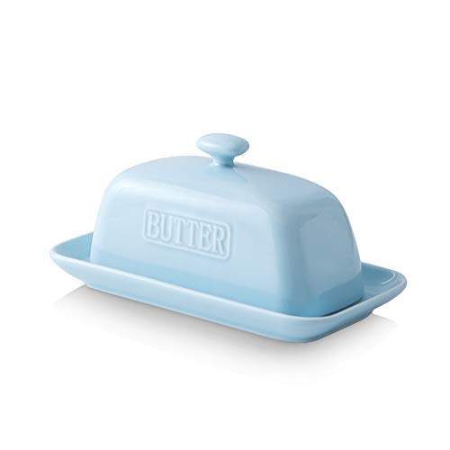 KOOV Porcelain Butter Dish with Lid Butter keeper, 7.5 inch wide Perfect for East/West Butter, Boat-shaped Series (Sky)