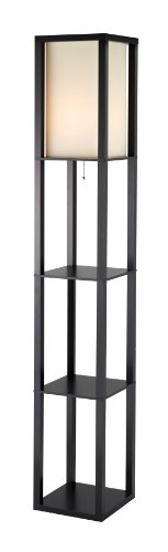 Adesso Titan Floor Lamp – 6 Feet Tall, 2 Shelve Storage, MDF Made, Black Finish, Poly Cotton Shade, Scratch Proof Lighting Fixture. Lamps and Shades