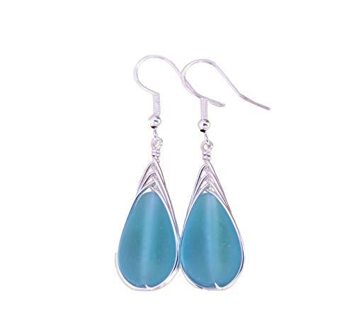 Handmade in Hawaii, Spezialdraht geflochtene blaues Meer Glas Ohrringe, Hawaii-Geschenk, (Hawaii Gift Wrapped, individuell gestaltete Geschenk-Message)
