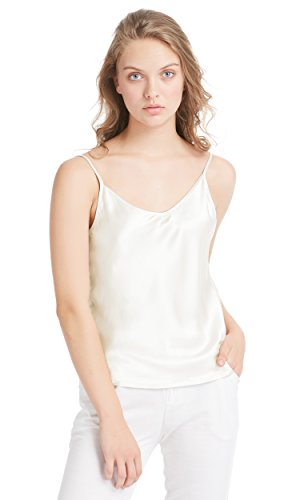 LilySilk Womens Silk Camisole 100 Real Mulberry Silk Tank Tops & Ladies Cami Top with Soft Satin Ivory M/8-10
