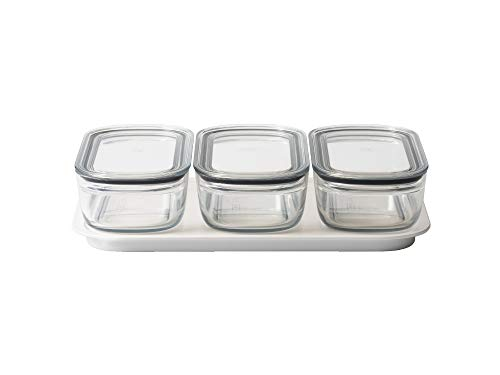 ライクイット (like-it) キッチン収納 調理ができる 保存容器 Mサイズ3個組 クリア + トレーL ホワイト FC-034 冷凍保存可 食器洗い乾燥機可