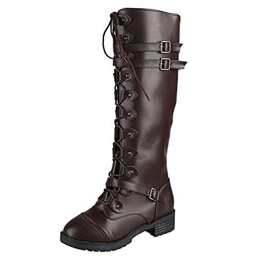 Stivaletto Donna Tacco stivaletti tacco Scarpe di Cotone All'aperto Caldo Boots Stivali Donna Tacco Alto Stivaletti stringati da donna (Caffè,37 EU)