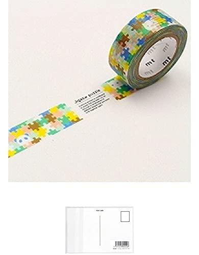 MT 和紙マスキングテープ 子供用 ジグソーパズル 15mm x 7m (MT01KID027) + 画材屋ドットコム ポストカードA