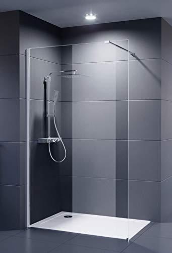 Duschmeister Glaswand Dusche 120x200 cm Walk In Palladium Neo 8 mm Duschwand mit Nano Clean Beschichtung Glasversiegelung Duschabtrennung Duschkabine offen mit Stabilisator 120 x 200 weitere Größen