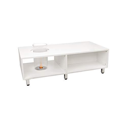 AFRODITE Tavolino di Design con Camino al Bioetanolo Biocamino da Terra Bianco(Bianco)