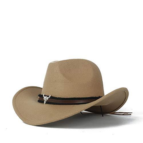 LTH-GD Cappellino Invernale e Cappello Cappello da Cowboy da Uomo in Lana Occidentale con Cappello da Sombrero con Cinturino in Pelle (Color : Khaki, Size : 56-58)