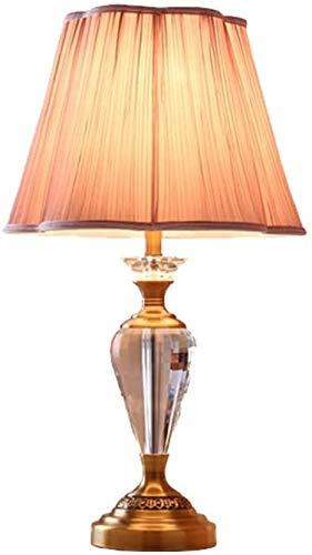 Lámpara de la lámpara de mesa de cristal europeo de la talla para el dormitorio/sala de estar Base de metal Lámpara de escritorio LED de la luz decorativa de la luz de la noche YZPLDD
