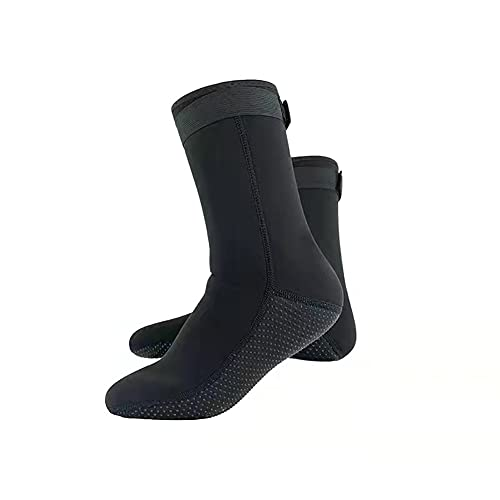 DAQAXGAO Calcetines de neopreno térmico de 3 mm, antideslizantes, para hombre, mujer, natación, aletas de agua, color negro, M