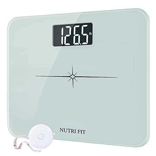 "High Precision Digital Body Weight Bathroom Scale with Ultra Wide Platform and Easy-to-Read Backlit LCD, 400 Pounds Elegant White (14'' x12"")"